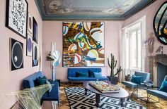 〚 Colorful eclectic interiors of old palazzo in Brescia, Italy 〛 ◾ Photos ◾ Ideas ◾ Design #eclectic #livingroom #colorful #blue #purple #interiordesign #homedecor #ideas #inspiration #tips #cozy #living #style #space #interior #decor Palazzo, Gallery Wall, Frame, Projects, Design, Home Decor, Italy, Interiors, Colorful