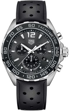 Tag Heuer Formula 1 Quartz Chronograph Men's Watch with Blue Dial and Black Perforated Rubber Strap - Lowest Tag Heuer Prices and Guaranteed Authentic Sport Watches, Cool Watches, Men's Watches, Latest Watches, Fashion Watches, Tag Heuer Price, Tag Heuer Formula, Silver Pocket Watch, Swiss Army Watches
