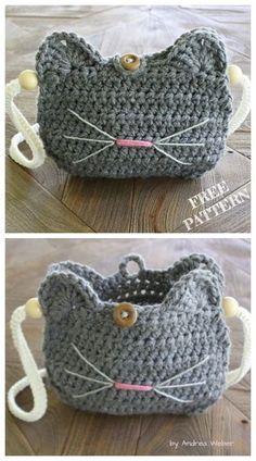Crochet Cat Purse Free crochet patterns - knitting is as easy as . - crochet Crochet Cat Purse Free crochet patterns – knitting is as easy as … – crochet patterns – Chat Crochet, Crochet Tote, Crochet Handbags, Crochet Purses, Crochet Crafts, Easy Crochet, Crochet Stitches, Crochet Projects, Crochet Ideas