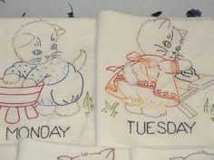 FREE SHIPPING Handmade Embroidered Tea Towels Busy by Hisnow, $75.00