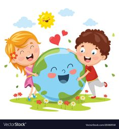 Illustration of earth day Premium Vector Earth Day Drawing, Kids Background, Earth Day Crafts, School Murals, Classroom Walls, School Decorations, Child Day, Happy Kids, Kids Education