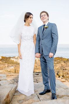 """Real Houghton bride Eva in the """"Clariette"""" embroidered Dentelle de Lyon loom lace short sleeve gown with matching lace trimmed veil. Visit the NYC Houghton Atelier to view and try on the full Bridal and Ready-To-Wear collection! By appointment only. Email sales@houghtonnyc.com for availability!"""