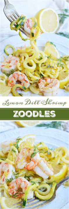 Lemon Dill Shrimp Zucchini Noodle Recipe! Would be wonderful! So easy and quite healthy too! A great lunch or dinner that is healthy, filling and Whole30 compliant! I wouldn't use oil... i never do and never have any troubles!