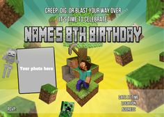 Cmartistry : Personalized Mindcraft Birthday Party Invitations - DIY Printable