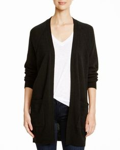 AQUA Cashmere Moto Open Cardigan with Pockets | Bloomingdale's