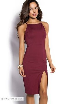 """Rashida"" Cranberry Red Simple Elegant Midi Cocktail Dress with Leg Split"
