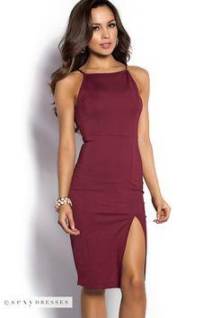 """Rashida"" Cranberry Red Simple Elegant Sheath Cocktail Dress with Leg Split"