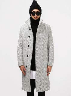 Herringbone Tweed Turtle Neck Long Coat $124.00