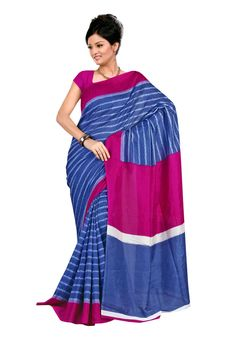 Fabdeal Indian Designer Raw #Silk #Blue #Printed Saree