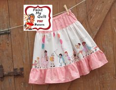 """Girls skirt Pattern PDF, Make a  Twirl skirt with this Easy Sewing Tutorial PDF E-Pattern skirt sizes 6m through to 10 years """"Lucy Skirt"""". $4.50, via Etsy."""