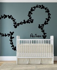 When I have a kid, this will be their bedroom wall! Mickey Mouse Wall Decal Art Decor Baby Name Wall by HappyWallz, $49.99