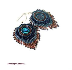 Peacock's feather bead embroidery earrings with by jewelrywithsoul, #beadwork