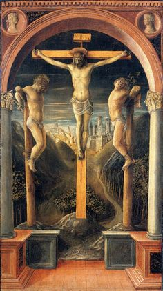 V. Foppa, Tre crocifissi, 1456, tempera su tavola, Accademia di Carrara, Bergamo