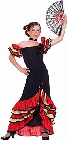 Flamenco Girl Childs Halloween Costume Kids Spanish Dancer Medium NEW #ForumNovelties