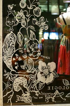 Nathalie Lete windows at Anthropologie~Image © Rachel. Chalk Pens, Chalk Markers, Chalk Art, Shop Window Displays, Store Displays, Retail Displays, Merchandising Displays, Store Front Windows, Window Art
