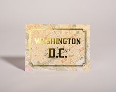 Vintage District of Columbia maps with gold foil lettering make a beautiful card for anyone who loves the city of Washington D.C.