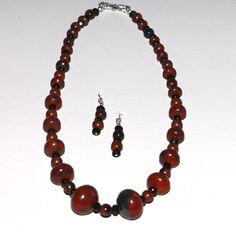 Obsidian Jasper and Black Onyx Necklace Set Rustic Mahogany Color by NevadaLadyJ on Etsy