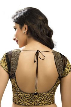 #Black & #gold raw silk & net designer #blouse with v neck -BL554