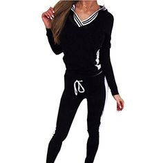Littler Store Comfortable Womens Activewear Set Vneck Sports Outfits Hoodie TopsPants BlackSmall * Want additional info? Click on the image.
