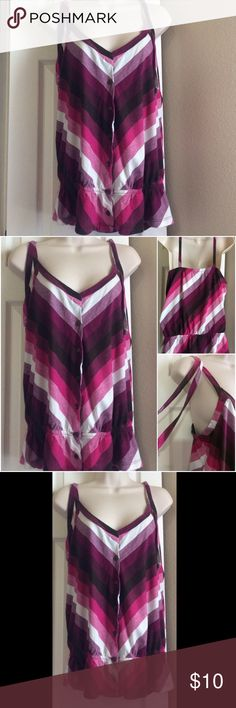 V-STRIPED BLOUSE Deep purple, pink, black, and white inverted V-striped spaghetti-tank blouse. Has 2 ties also at the shoulder. Elastic waist and button front.  Feel free to ask any questions if you need more info. I will also update more details later. Tops