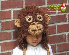 Crochet Monkey Hat for Boys and Girls  Orangutan by JENIASdesigns