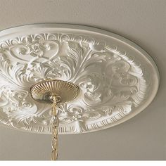 bel-air medallion - ceiling medallion - inviting home House Ceiling Design, Ceiling Design Living Room, Modern Ceiling Medallions, Ceiling Ideas, Ceiling Lights, Cove Molding, Inviting Home, Acanthus, Bel Air