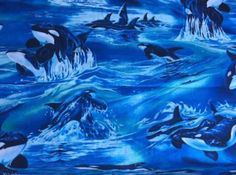 Whales Whales fabric Robert Kaufman North American Wildlife