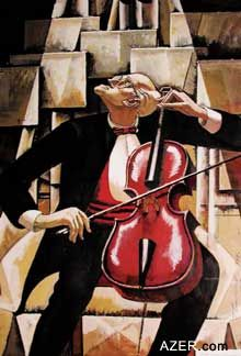 World renowned cellist Mstislav Rostropovich, painted by one of Azerbaijan's most famous painters, Tahir Salahov. The portrait was prepared specifically in 1999 for the Rostropovich Home Museum in Baku.