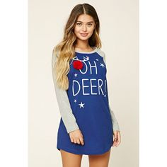 Forever21 Oh Deer Nightdress (54 BRL) via Polyvore featuring knit nightgown, long nightgowns, forever 21 sleepwear, long nightdress e forever 21