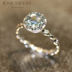 Oneswear Pure - 3.5ct sea blue aquamarine + natural white diamond 18k yellow gold ring for women - light clean bright graceful