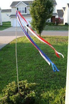We made these to decorate the front yard for kiddo's birthday party. Eye-catching, breezy, and welcoming :)