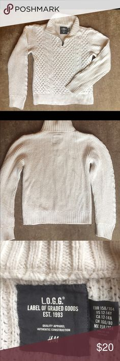 Sweater, cable Knit Cotton, wool, poly blend. Super cozy. Youth 12-14. My son never wore this and it breaks my heart cuz it's sooo super cute. Antique brass zip in front. Brand new, but no tags. H&M Shirts & Tops Sweaters