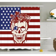 """Ambesonne Skull Dead Facial with a Wreath on Head USA Symbol Stars Humor Illustration Shower Curtain Set Size: 75"""" H x 69"""" W x 1"""" D"""
