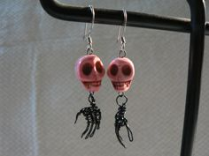 Twisted Wire Skull Hand Earrings  Black & Pink  by TangibleBliss: Blissfully Cool Jewelry, Arts & Crafts. #Halloween #SpookyEarrings #Skulls #Hands #Skeleton
