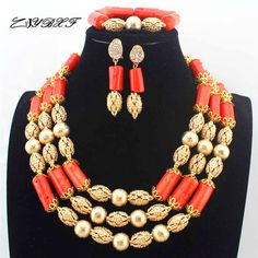 African wedding coral beads Necklace Nigerian Handmade Jewelry Sets statement Necklace women fashion Jewelry set L1252