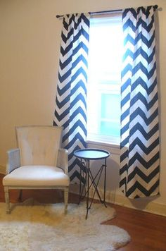 chevron curtains - want in gray/white Chevron Curtains, Zig Zag, Bedrooms, Bedroom Decor, Stripes, Black And White, Gray, Beautiful, Design