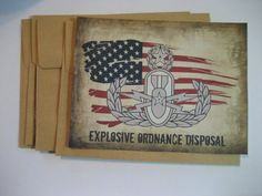 rustic EOD Master Badge art Flat Notecards Set by CreationsbyGena