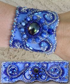 Blue beaded cuff-  SOLD. Cuff Bracelets, Blue, Jewelry, Fashion, Moda, Jewlery, Jewerly, Fashion Styles, Schmuck