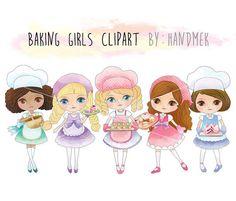 baking girls clipart  bakery girls clipart instant download