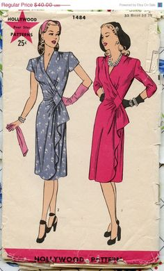 One Year Sale 1940s Vintage Hollywood Pattern by GreyDogVintage, $34.00