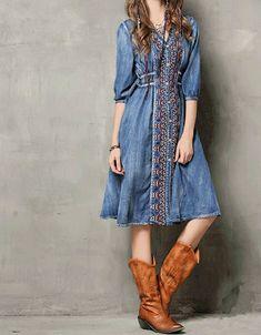 Mid-length sleeve front embroidery denim dress – Sofiq