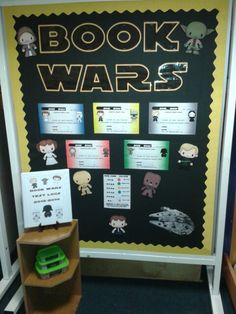 Reading display- could be a good idea for a passive program, star wars bulletin, may the School Library Displays, Library Themes, Classroom Displays, Library Ideas, Library Books, Space Classroom, Classroom Themes, Accelerated Reader Display, Star Wars Classroom