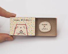 "Birthday Card Matchbox/ Gift box/ ""Make a wish"" Kitty Cupcake"