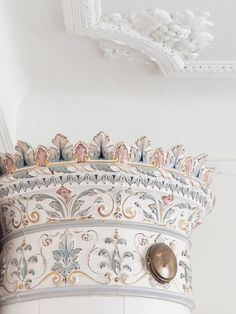 The beautiful top of an old Swedish tiled stove