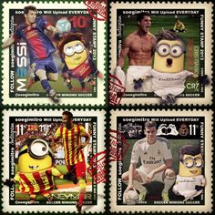 Minions futbolistas: Leo Messi, Neymar, Cristiano Ronaldo y Gareth Bale. get more only on http://freefacebookcovers.net