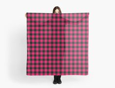 hot pink and black scarf. Buffalo Plaid in punk pink. by linepush