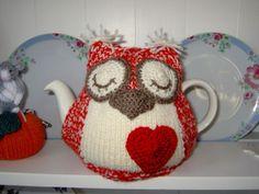 Sleepy Owl Hand Knitted Tea Cosy Red White with Crochet Heart   eBay