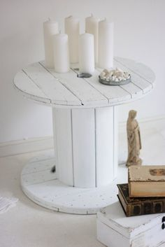 Table made from wooden cable reel - this is my plan for the spare bedroom!