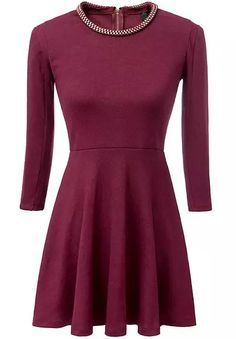 Chain Embellished Wine red Dress 29.17