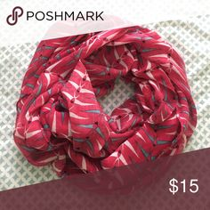 Bird-Patterned Infinity Scarf Light scarf, looks adorable with blouses and dresses! New condition. Accessories Scarves & Wraps